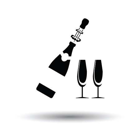 champagne glasses: Party champagne and glass icon. White background with shadow design. Vector illustration.