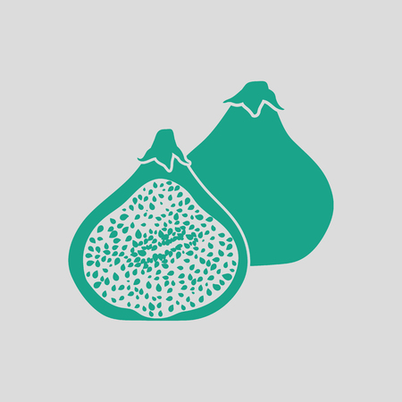 slice: Fig fruit icon. Gray background with green. Vector illustration. Illustration