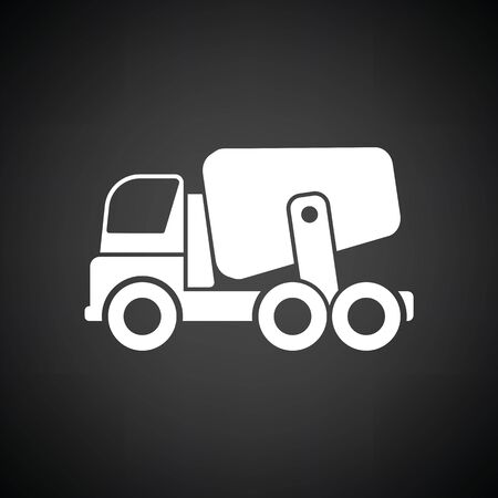 concrete construction: Icon of Concrete mixer truck . Black background with white. Vector illustration.
