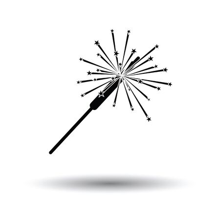 bengal light: Party sparkler icon. White background with shadow design. Vector illustration.