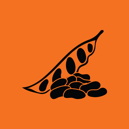 soy bean: Beans  icon. Orange background with black. Vector illustration.