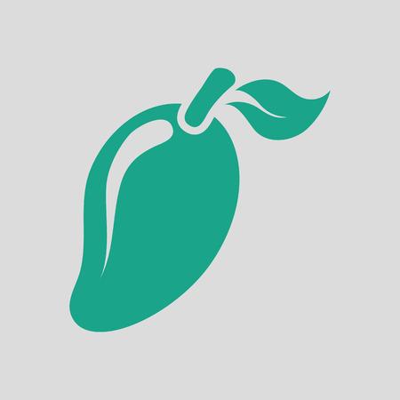 Mango icon. Gray background with green. Vector illustration. Illustration