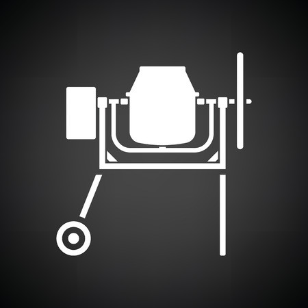 worksite: Icon of Concrete mixer. Black background with white. Vector illustration.