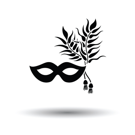 Party carnival mask icon. White background with shadow design. Vector illustration.