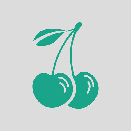 drupe: Cherry icon. Gray background with green. Vector illustration. Illustration