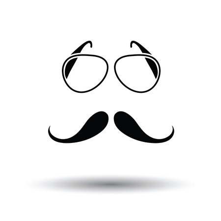 Glasses and mustache icon. White background with shadow design. Vector illustration.