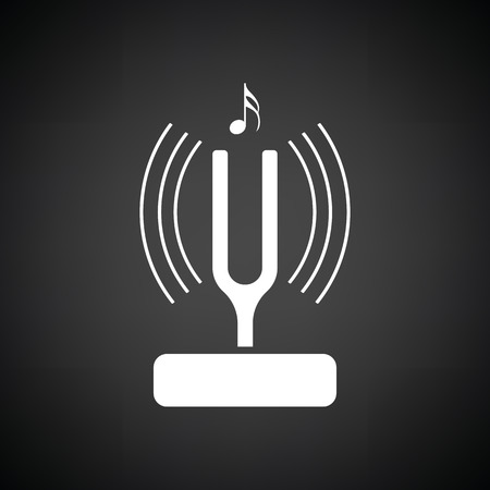vibrate: Tuning fork icon. Black background with white. Vector illustration.