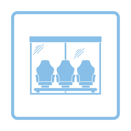 substitute: Soccer players bench icon. Blue frame design. Vector illustration.