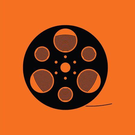 Filmspoel icoon. Oranje achtergrond met zwarte. Vector illustratie.