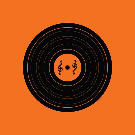 Analogue record icon. Orange background with black. Vector illustration.
