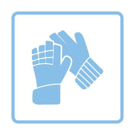 famous people: Soccer goalkeeper gloves icon. Blue frame design. Vector illustration. Illustration