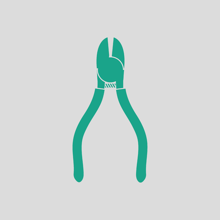Side cutters icon. Gray background with green. Vector illustration. Illustration