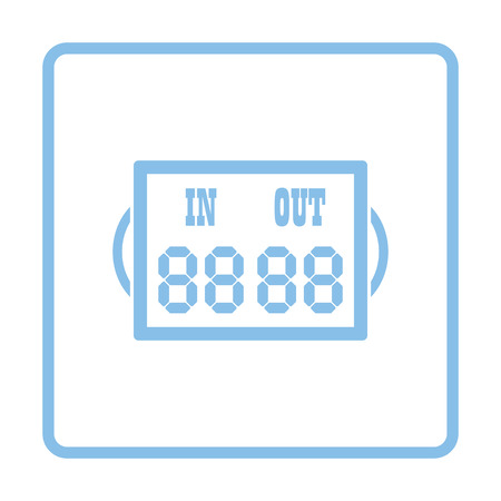 replace: Soccer referee replace scoreboard  icon. Blue frame design. Vector illustration.