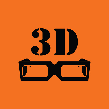 goggle: 3d goggle icon. Orange background with black. Vector illustration.