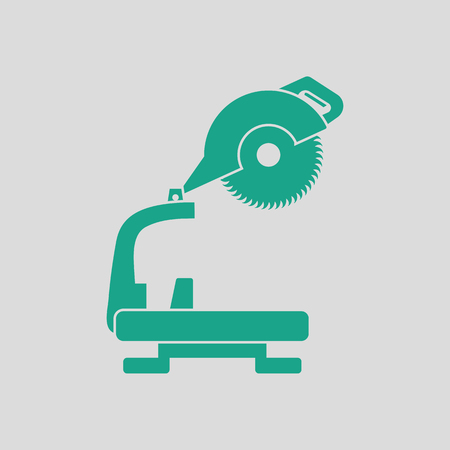 handtool: Circular end saw icon. Gray background with green. Vector illustration.