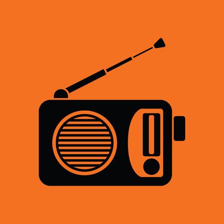 fm: Radio icon. Orange background with black. Vector illustration. Illustration
