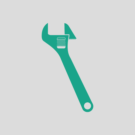 adjustable: Adjustable wrench  icon. Gray background with green. Vector illustration.
