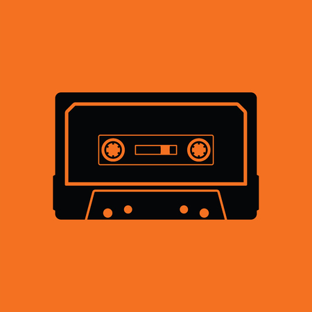 Audio cassette  icon. Orange background with black. Vector illustration. Illusztráció