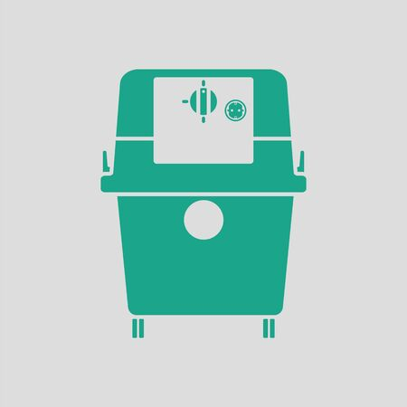 horsepower: Vacuum cleaner icon. Gray background with green. Vector illustration.
