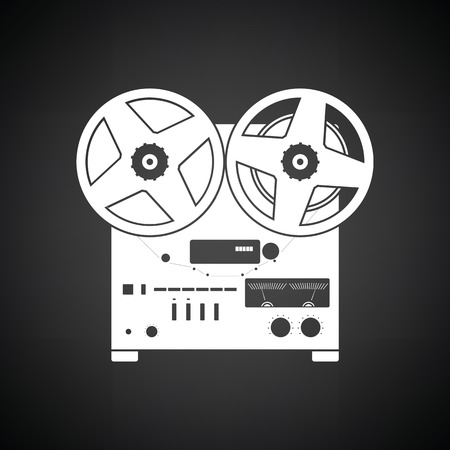 music machine: Reel tape recorder icon. Black background with white. Vector illustration. Illustration