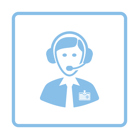 Soccer commentator icon. Blue frame design. Vector illustration.