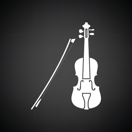 Violin icon. Black background with white. Vector illustration.