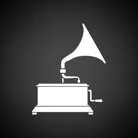 restored: Gramophone icon. Black background with white. Vector illustration.