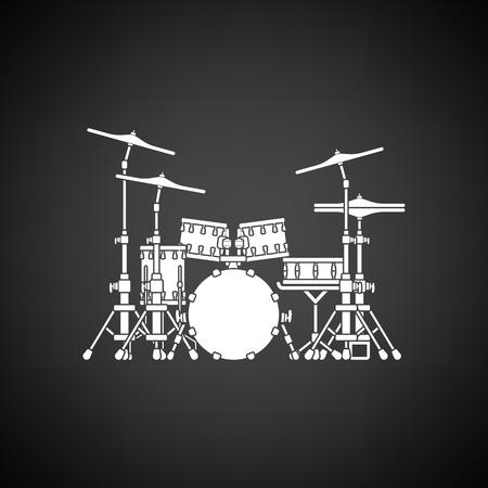 school kit: Drum set icon. Black background with white. Vector illustration. Illustration