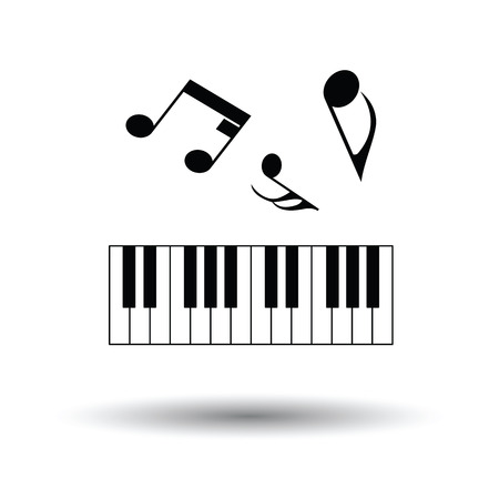 octaves: Piano keyboard icon. White background with shadow design. Vector illustration.