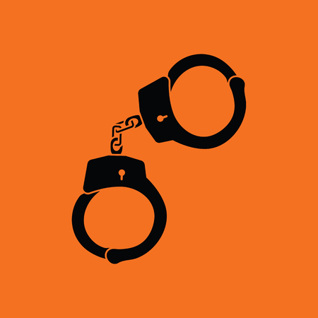 Handcuff  icon. Orange background with black. Vector illustration. Illustration