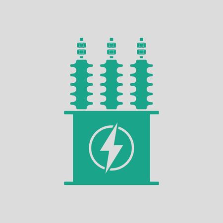 Elektrische transformator icoon. Grijze achtergrond met groen. Vector illustratie.