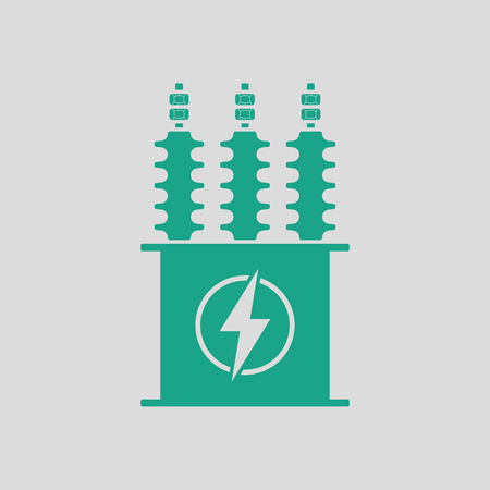 Electric transformer icon. Gray background with green. Vector illustration.