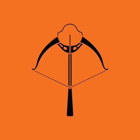 arbalest: Crossbow icon. Orange background with black. Vector illustration. Illustration