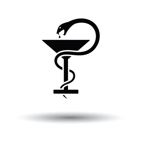 Medicine sign with snake and glass icon. White background with shadow design. Vector illustration.
