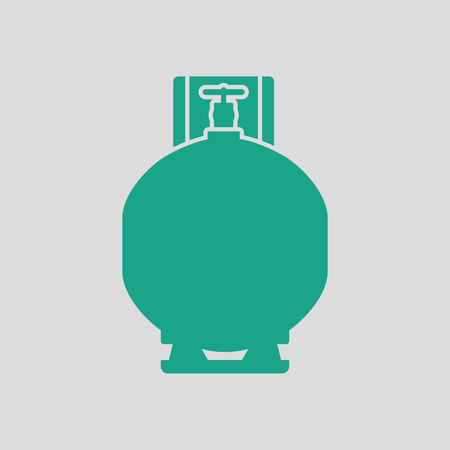 compress: Gas cylinder icon. Gray background with green. Vector illustration. Illustration