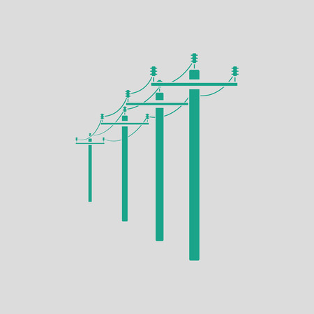 voltage gray: High voltage line icon. Gray background with green. Vector illustration.