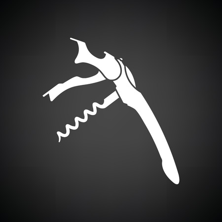 Waiter corkscrew icon. Black background with white. Vector illustration. Illustration