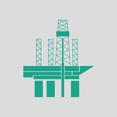 unstable: Oil sea platform icon. Gray background with green. Vector illustration. Illustration