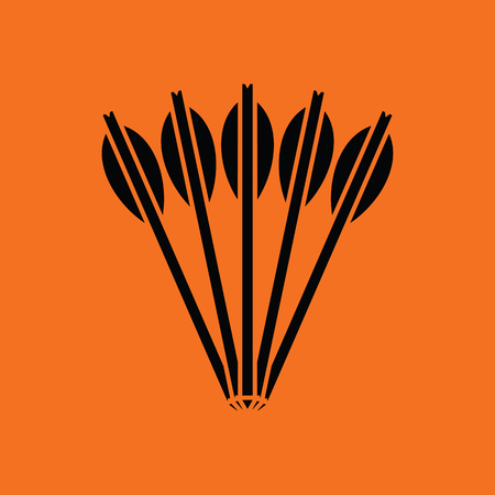 Crossbow bolts icon. Orange background with black. Vector illustration. Illustration