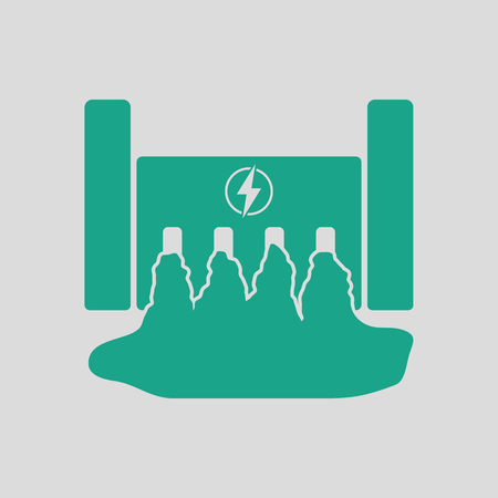 hydroelectricity: Hydro power station icon. Gray background with green. Vector illustration.