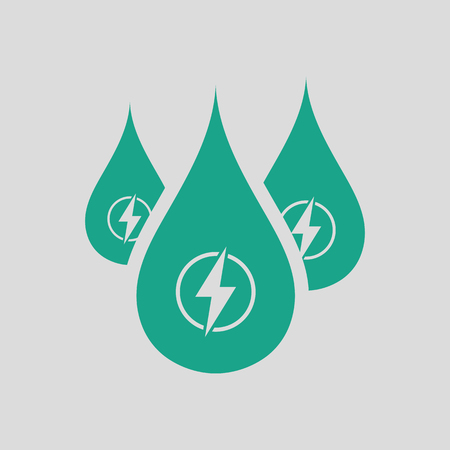 Hydro energy drops  icon. Gray background with green. Vector illustration.