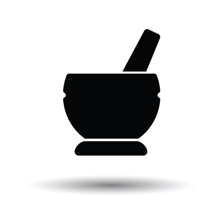 recovering: Mortar and pestel icon. White background with shadow design. Vector illustration. Illustration