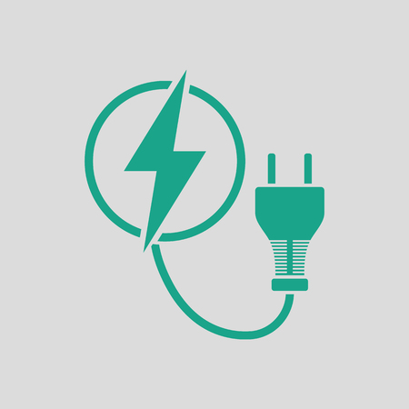 Electric plug icon. Gray background with green. Vector illustration.