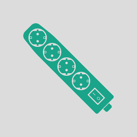 Electric extension icon. Gray background with green. Vector illustration.
