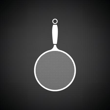 sieve: Kitchen colander icon. Black background with white. Vector illustration.