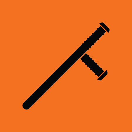 nightstick: Police baton icon. Orange background with black. Vector illustration.