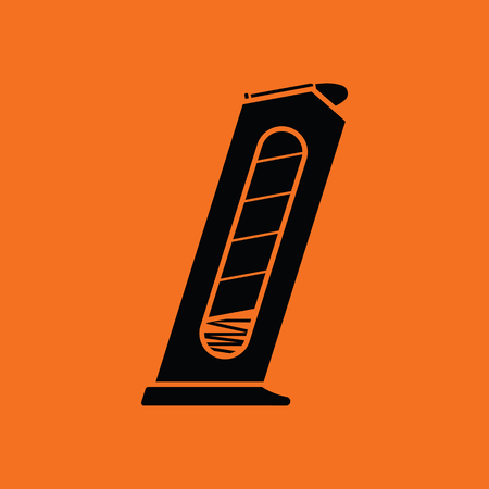 Gun magazine icon. Orange background with black. Vector illustration.