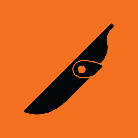 cold cuts: Knife scabbard icon. Orange background with black. Vector illustration. Illustration