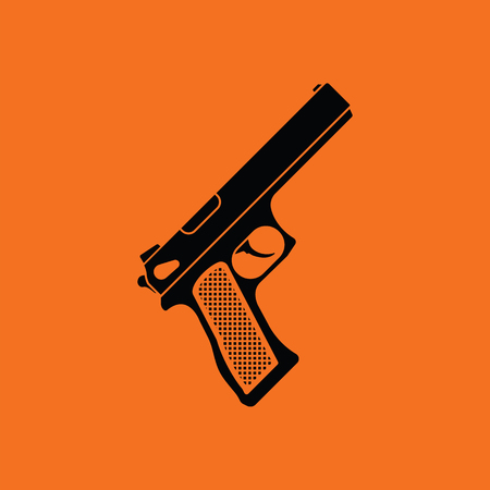 Gun icon. Orange background with black. Vector illustration. Illustration