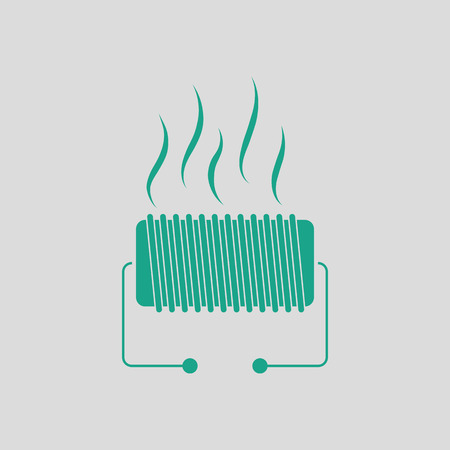 Electrical heater icon. Gray background with green. Vector illustration. Illustration